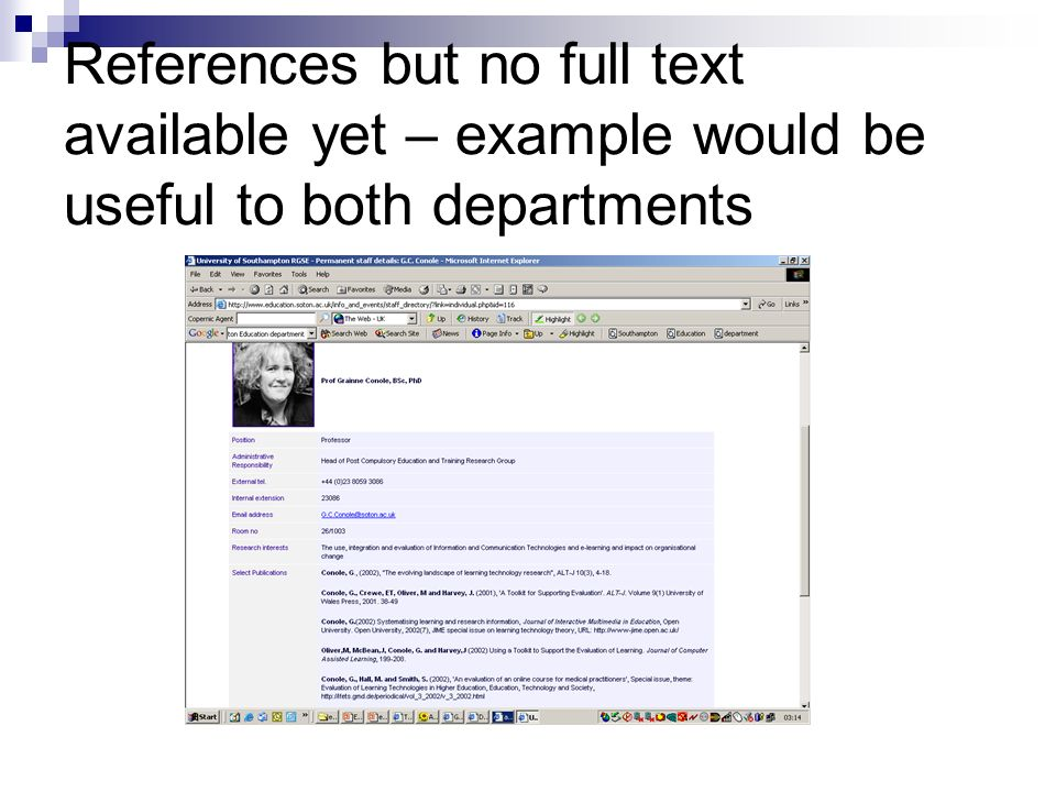 References but no full text available yet – example would be useful to both departments