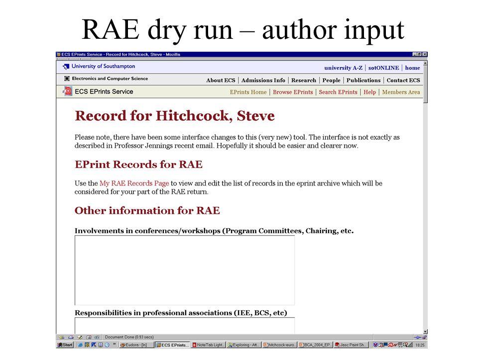 RAE dry run – author input