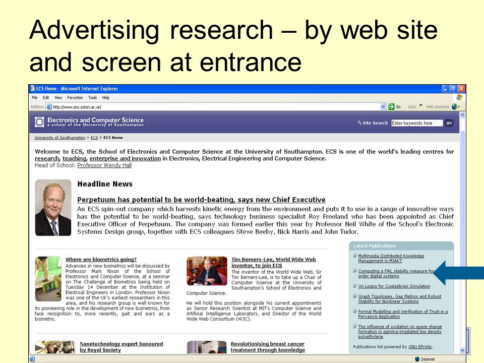 OdinPubAfrica, Belgium 23-24 Feb 2005 30 Advertising research – by web site and screen at entrance