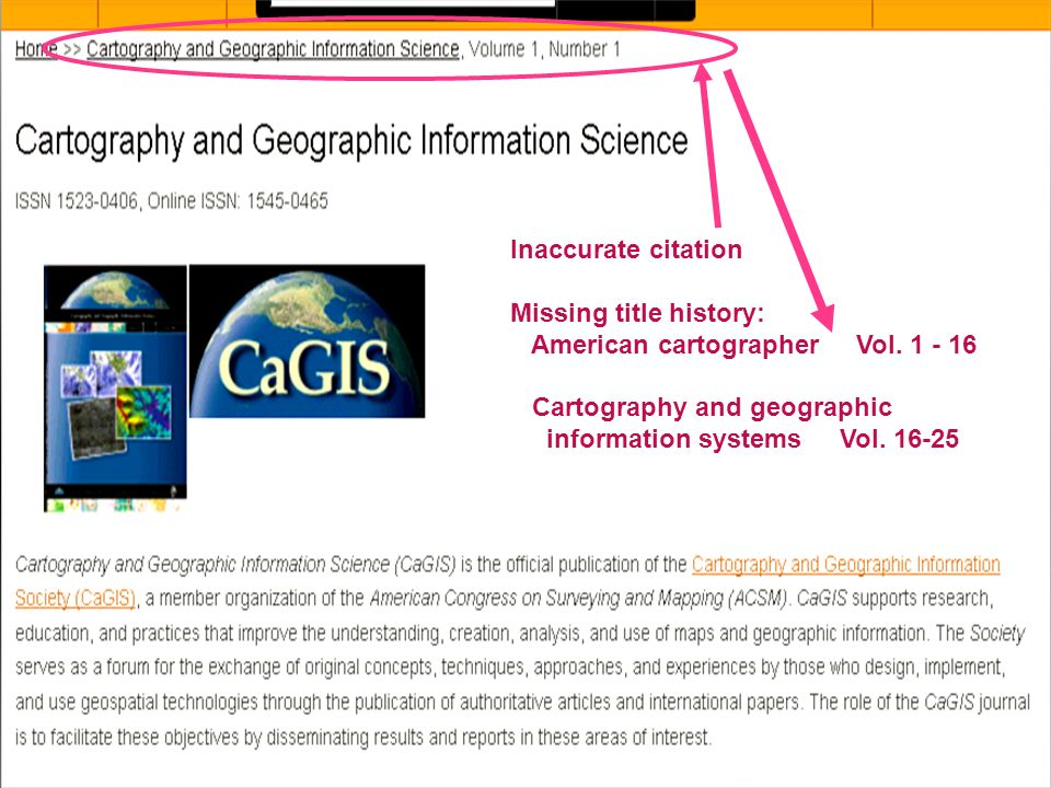 Inaccurate citation Missing title history: American cartographer Vol.
