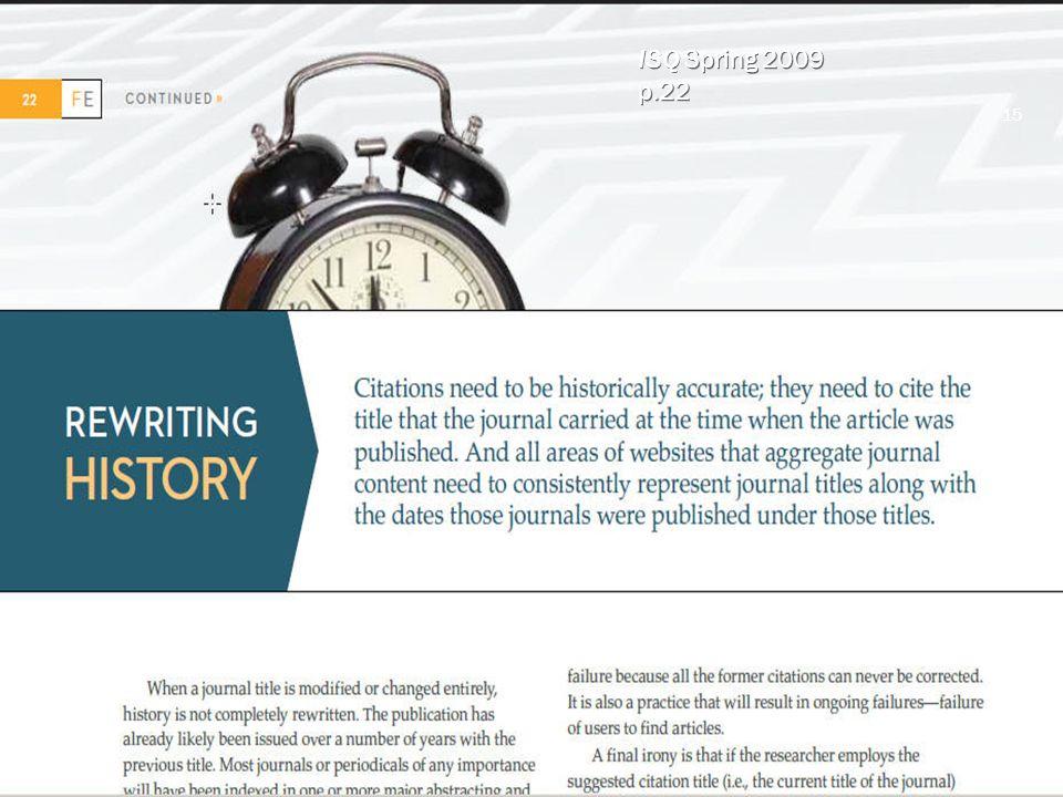 ISQ Spring 2009 p.22 ISQ Spring 2009 p.22 15