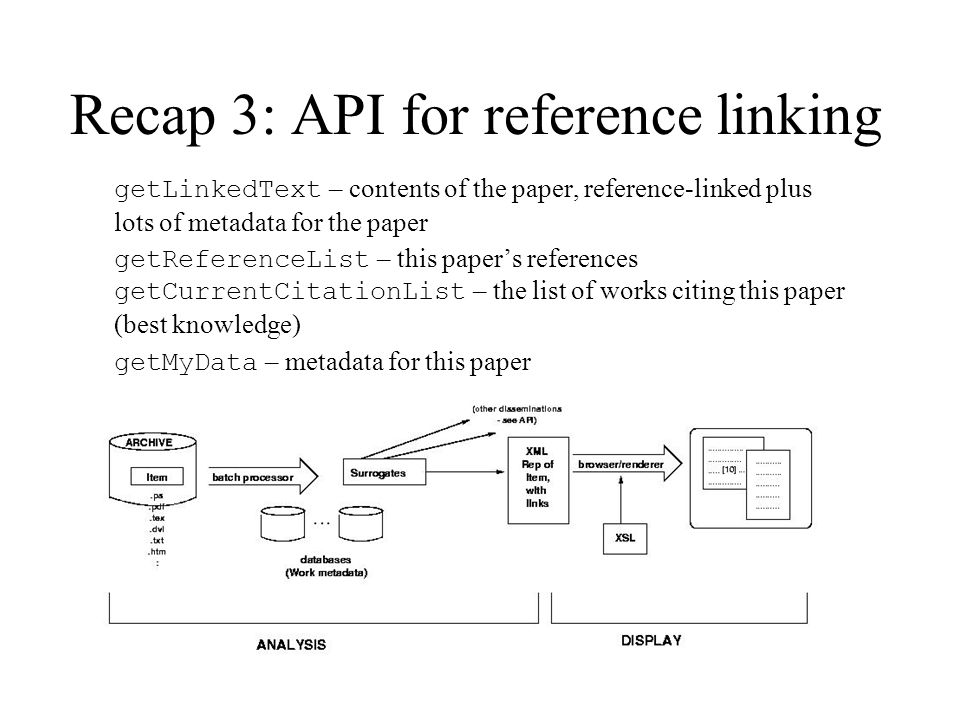 Recap 3: API for reference linking getLinkedText – contents of the paper, reference-linked plus lots of metadata for the paper getReferenceList – this