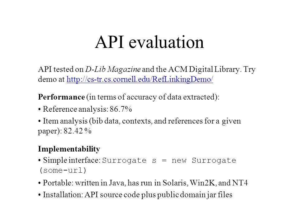 API evaluation API tested on D-Lib Magazine and the ACM Digital Library.