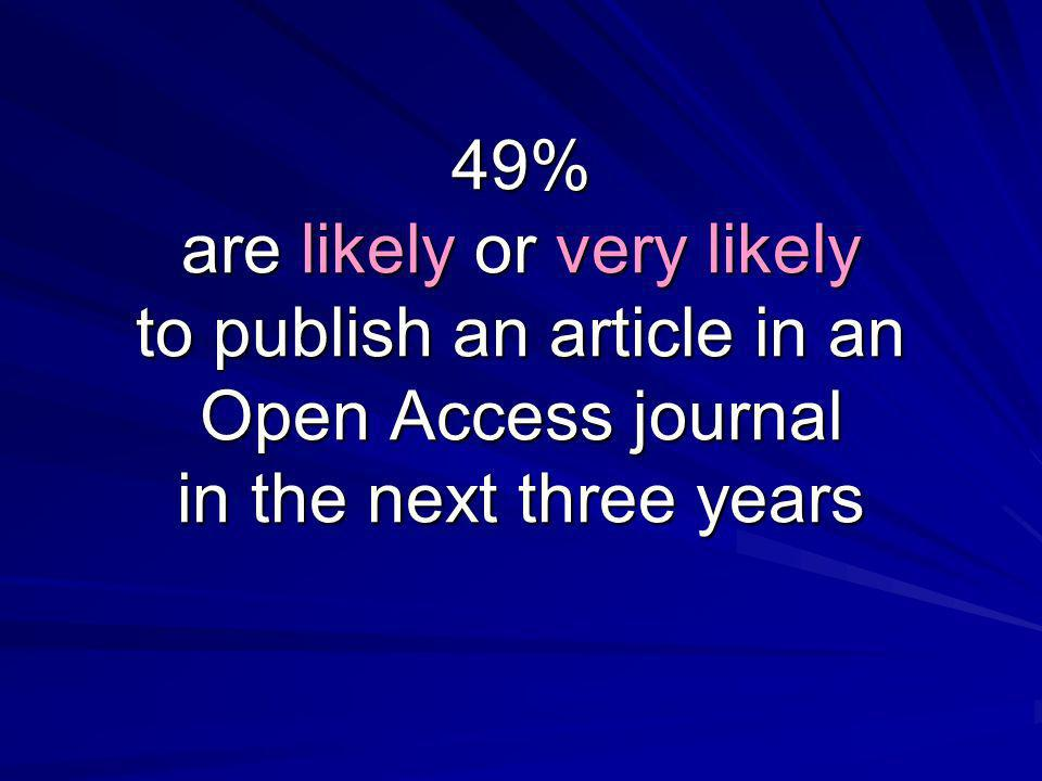 49% are likely or very likely to publish an article in an Open Access journal in the next three years