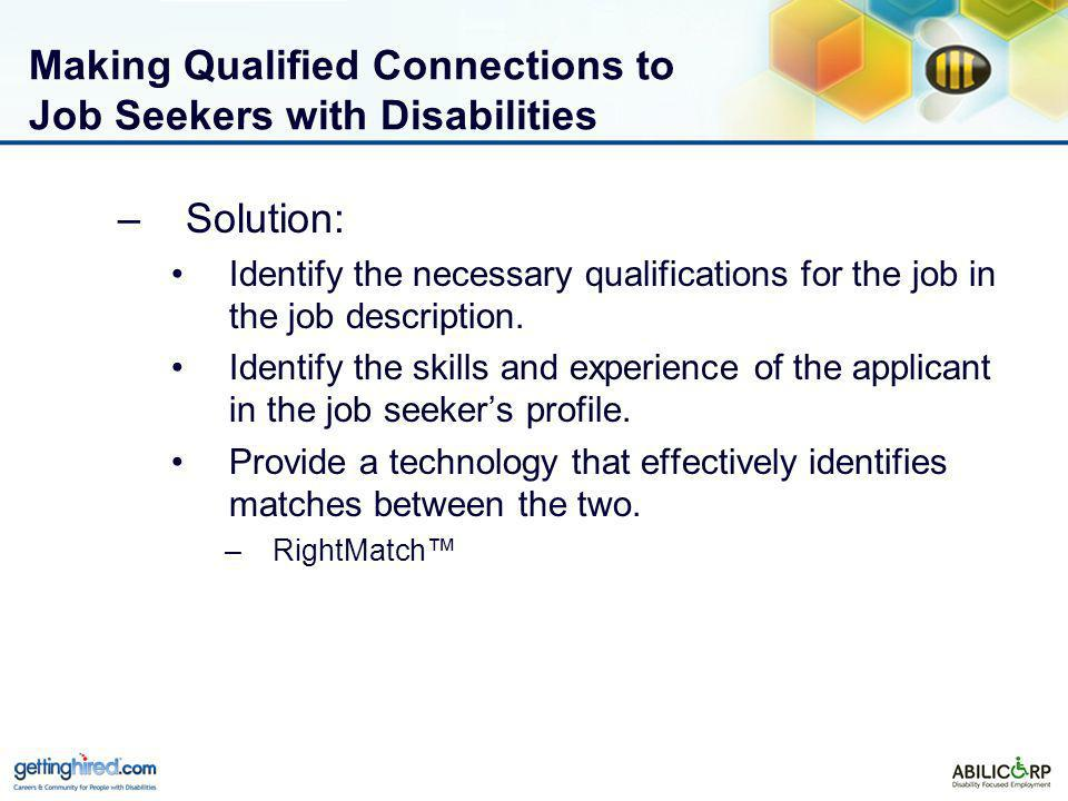 Making Qualified Connections to Job Seekers with Disabilities –Solution: Identify the necessary qualifications for the job in the job description.