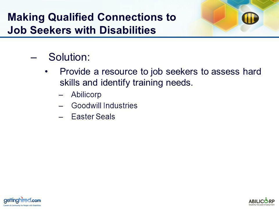 Making Qualified Connections to Job Seekers with Disabilities –Solution: Provide a resource to job seekers to assess hard skills and identify training needs.