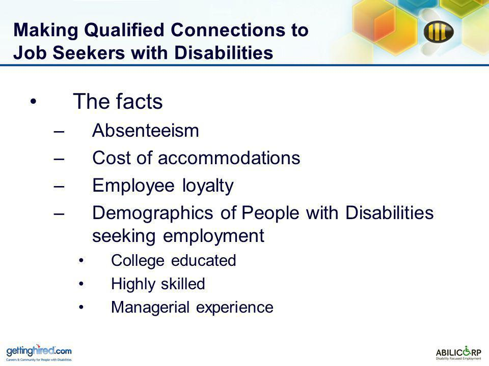 Making Qualified Connections to Job Seekers with Disabilities The facts –Absenteeism –Cost of accommodations –Employee loyalty –Demographics of People with Disabilities seeking employment College educated Highly skilled Managerial experience