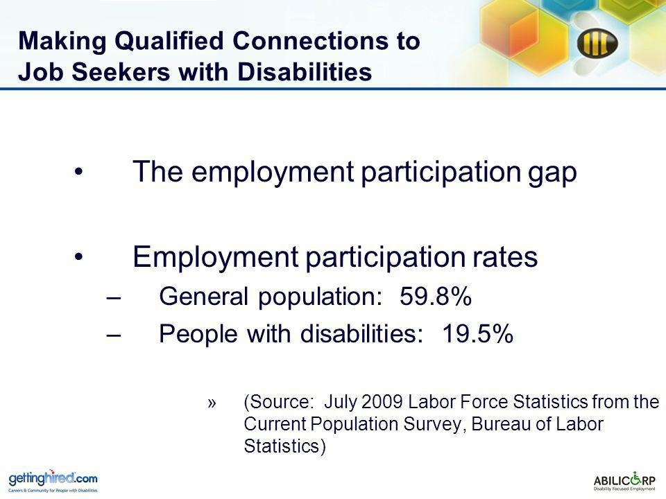 Making Qualified Connections to Job Seekers with Disabilities The employment participation gap Employment participation rates –General population: 59.8% –People with disabilities: 19.5% »(Source: July 2009 Labor Force Statistics from the Current Population Survey, Bureau of Labor Statistics)