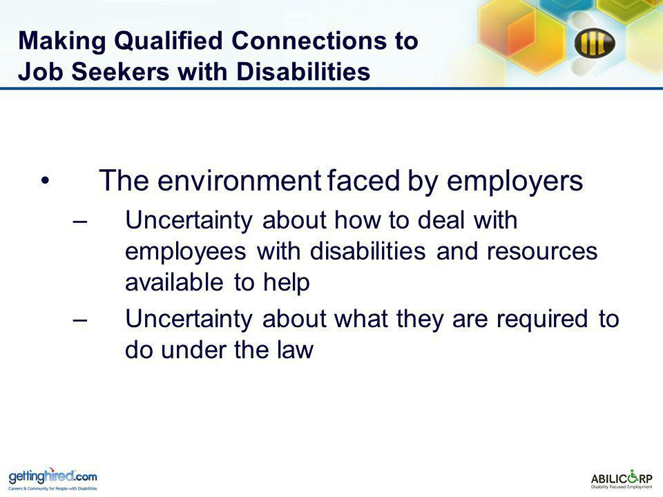 Making Qualified Connections to Job Seekers with Disabilities The environment faced by employers –Uncertainty about how to deal with employees with disabilities and resources available to help –Uncertainty about what they are required to do under the law