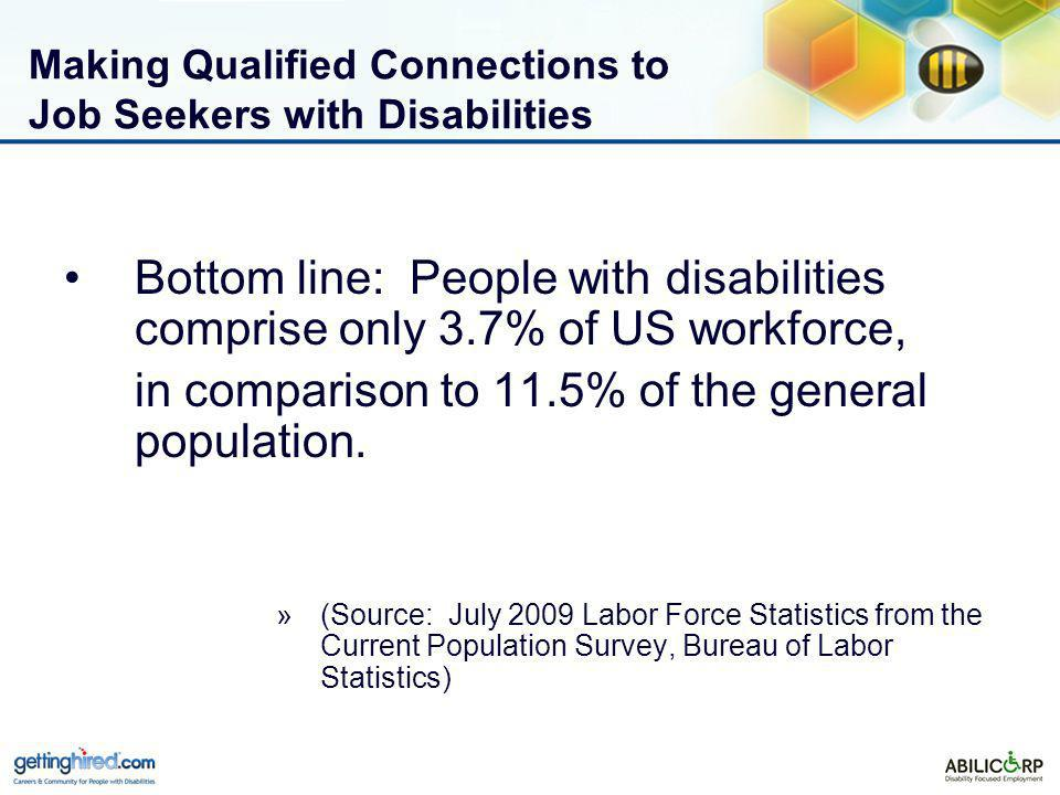 Making Qualified Connections to Job Seekers with Disabilities Bottom line: People with disabilities comprise only 3.7% of US workforce, in comparison to 11.5% of the general population.