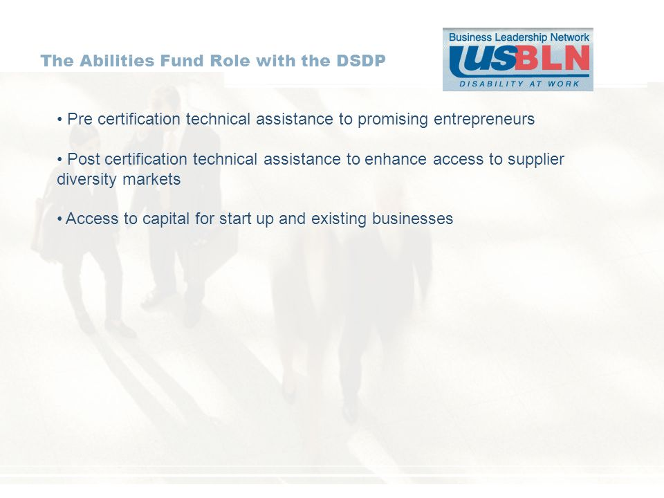 The Abilities Fund Role with the DSDP Pre certification technical assistance to promising entrepreneurs Post certification technical assistance to enhance access to supplier diversity markets Access to capital for start up and existing businesses