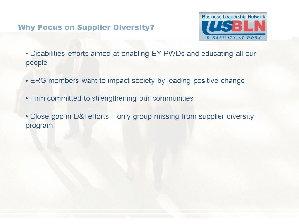 Why Focus on Supplier Diversity? Disabilities efforts aimed at enabling EY PWDs and educating all our people ERG members want to impact society by lea