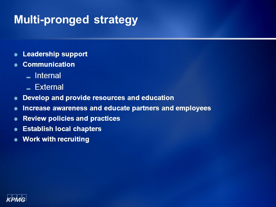 Multi-pronged strategy Leadership support Communication Internal External Develop and provide resources and education Increase awareness and educate partners and employees Review policies and practices Establish local chapters Work with recruiting