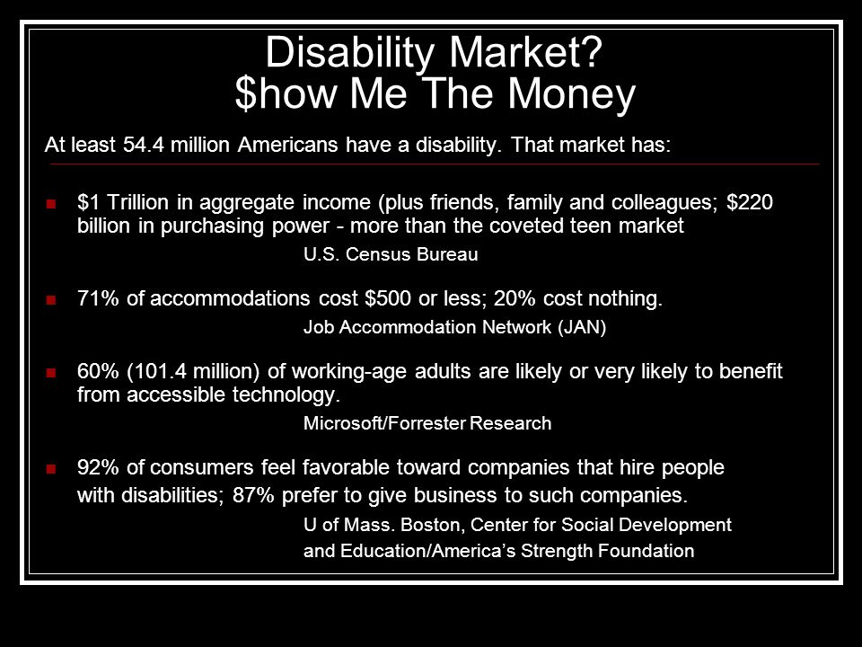 Disability Market? $how Me The Money At least 54.4 million Americans have a disability. That market has: $1 Trillion in aggregate income (plus friends