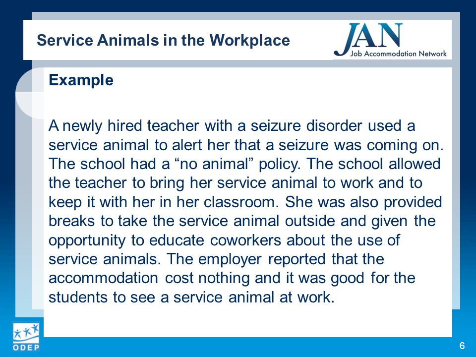 Example A newly hired teacher with a seizure disorder used a service animal to alert her that a seizure was coming on. The school had a no animal poli