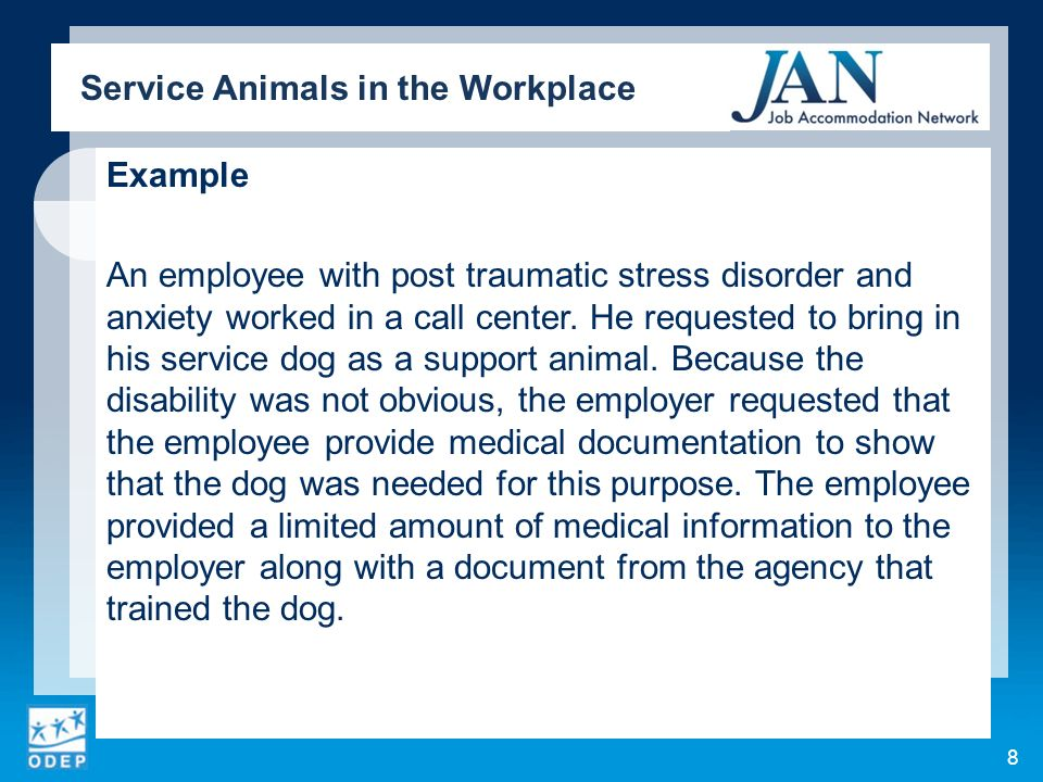 Example An employee with post traumatic stress disorder and anxiety worked in a call center. He requested to bring in his service dog as a support ani