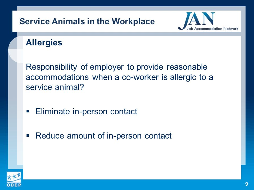 Allergies Responsibility of employer to provide reasonable accommodations when a co-worker is allergic to a service animal? Eliminate in-person contac