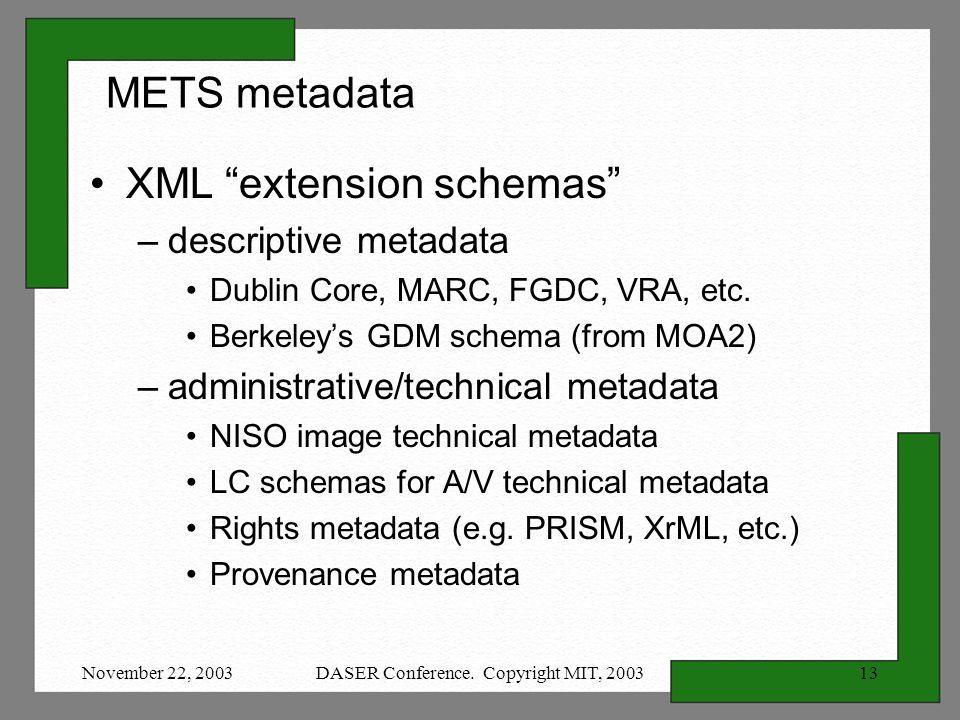 November 22, 2003DASER Conference. Copyright MIT, 200313 METS metadata XML extension schemas –descriptive metadata Dublin Core, MARC, FGDC, VRA, etc.