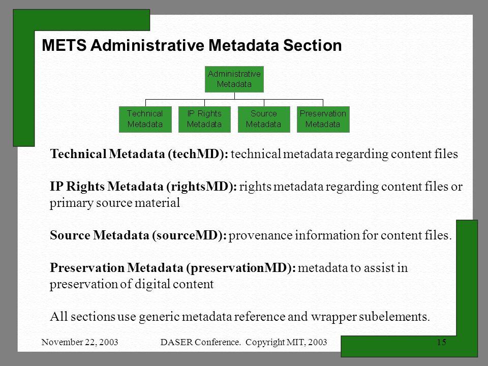 November 22, 2003DASER Conference. Copyright MIT, 200315 Technical Metadata (techMD): technical metadata regarding content files IP Rights Metadata (r
