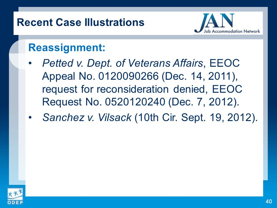 Reassignment: Petted v. Dept. of Veterans Affairs, EEOC Appeal No.
