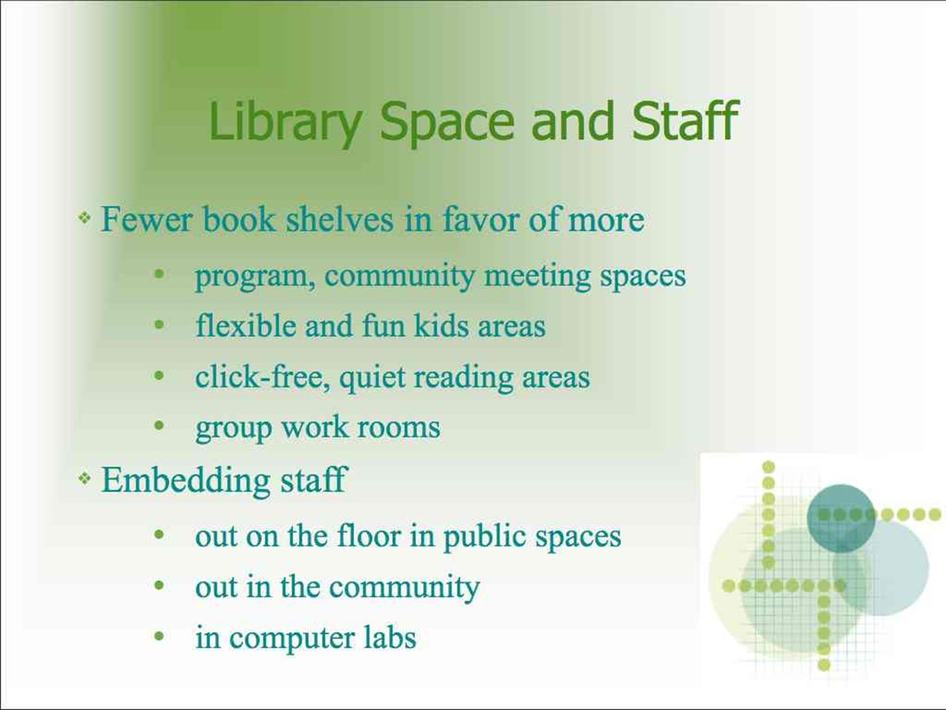 Library Space and Staff Fewer book shelves in favor of more program, community meeting spaces flexible and fun kids areas click-free, quiet reading areas group work rooms Embedding staff out on the floor in public spaces out in the community in computer labs