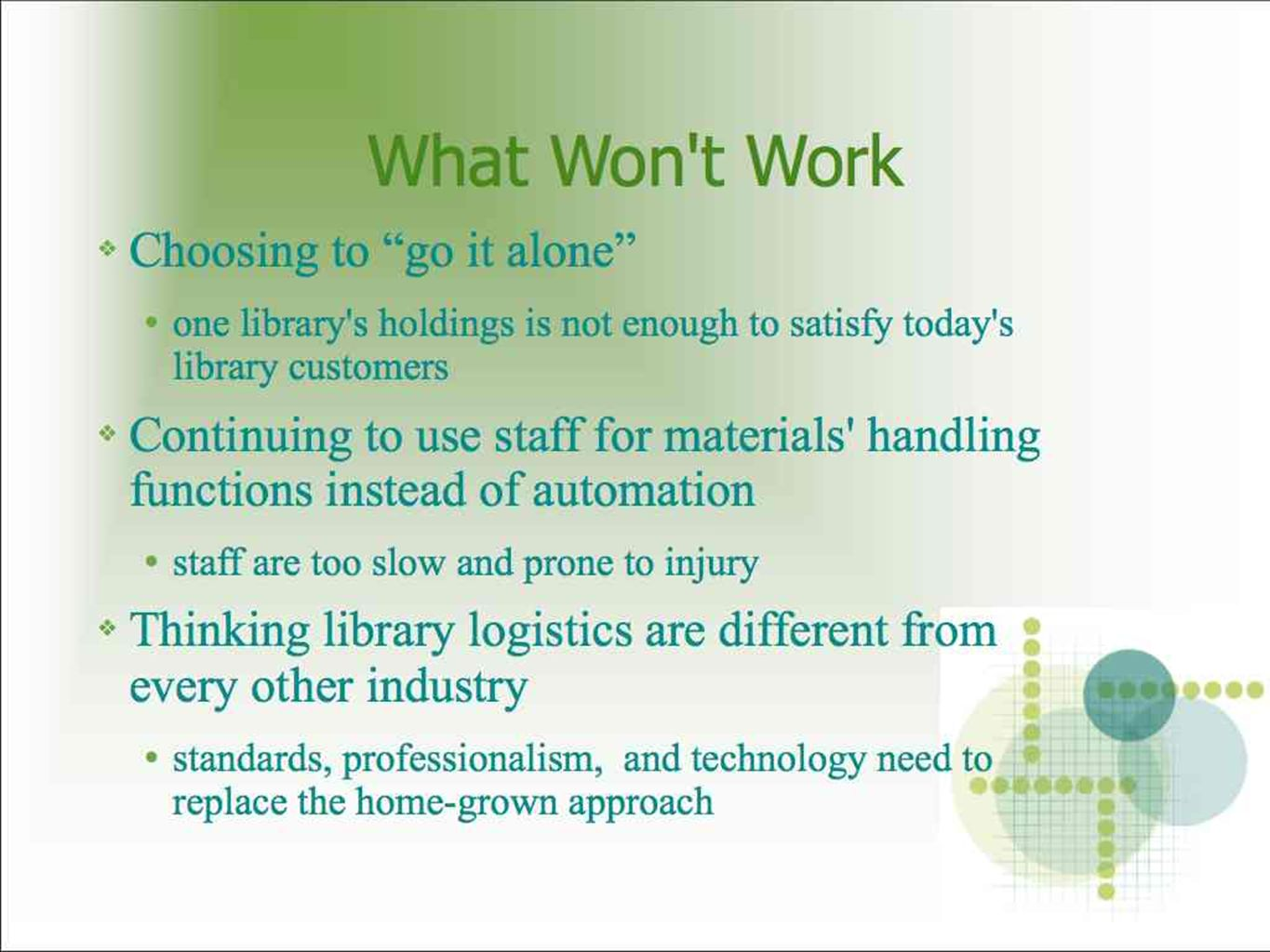 What Won t Work Choosing to go it alone one library s holdings is not enough to satisfy today s library customers Continuing to use staff for materials handling functions instead of automation staff are too slow and prone to injury Thinking library logistics are different from every other industry standards, professionalism, and technology need to replace the home-grown approach