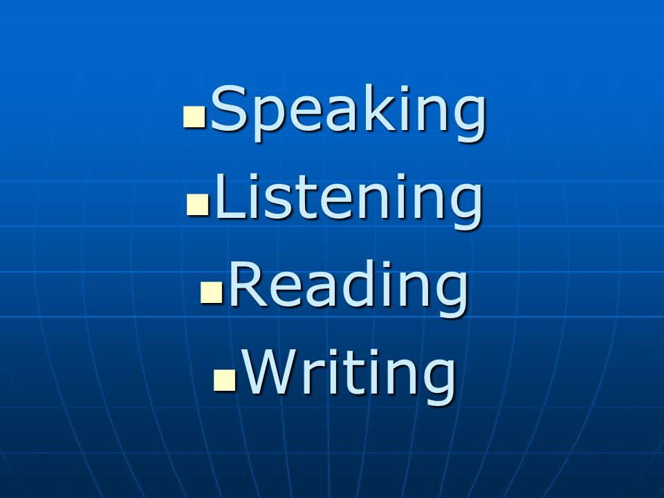 Speaking Speaking Listening Listening Reading Reading Writing Writing