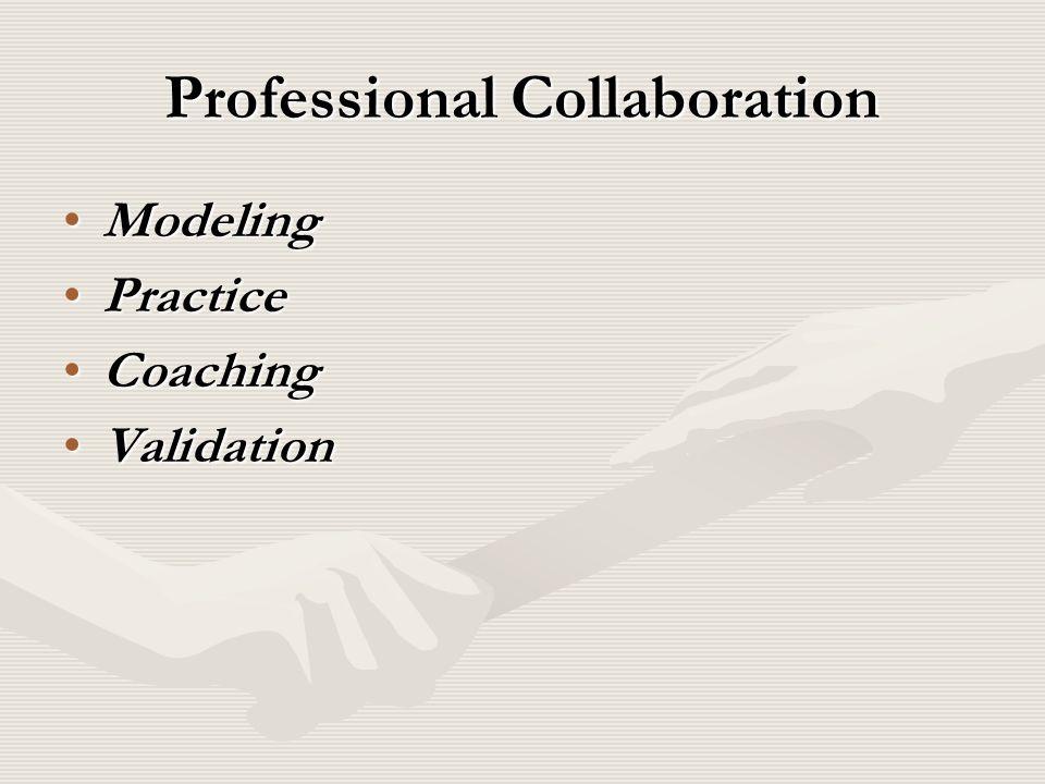 Professional Collaboration ModelingModeling PracticePractice CoachingCoaching ValidationValidation