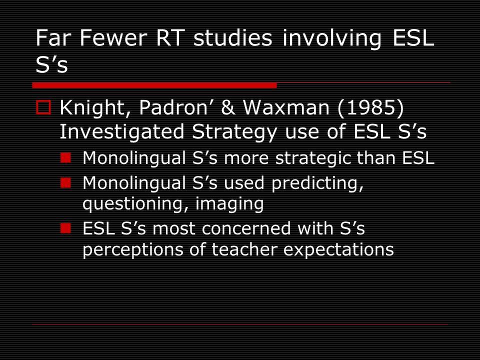 Far Fewer RT studies involving ESL Ss Knight, Padron & Waxman (1985) Investigated Strategy use of ESL Ss Monolingual Ss more strategic than ESL Monoli