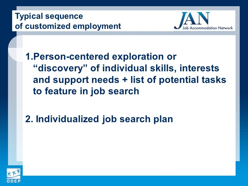 1.Person-centered exploration or discovery of individual skills, interests and support needs + list of potential tasks to feature in job search 2.