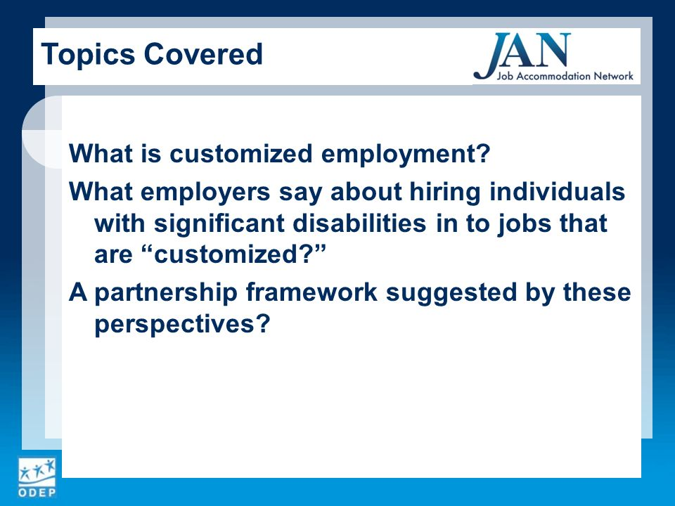 What is customized employment.