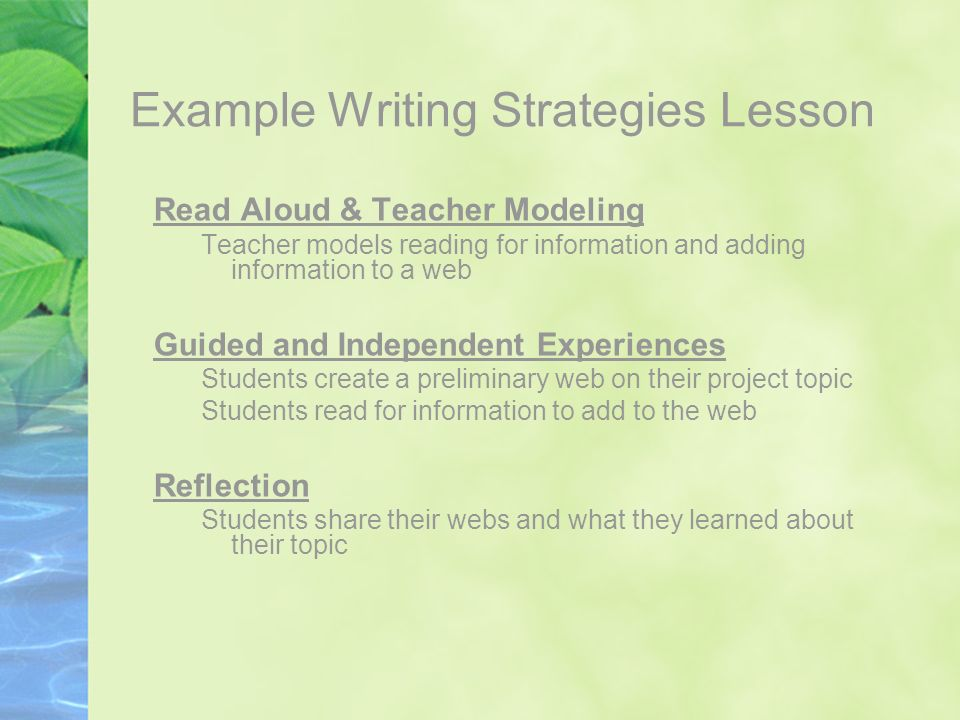 Example Writing Strategies Lesson Read Aloud & Teacher Modeling Teacher models reading for information and adding information to a web Guided and Inde