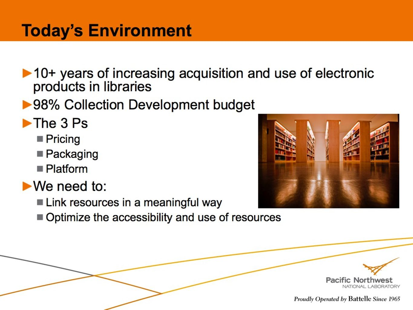 36 Todays Environment 10+ years of increasing acquisition and use of electronic products in libraries 98% Collection Development budget The 3 Ps Prici