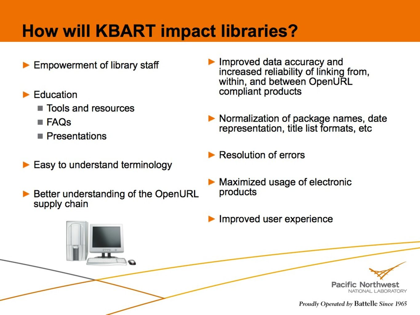 42 How will KBART impact libraries? Empowerment of library staff Education Tools and resources FAQs Presentations Easy to understand terminology Bette
