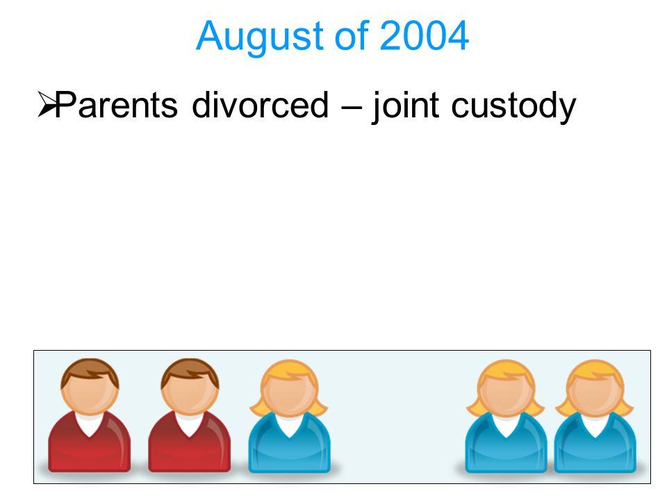 August of 2004 Parents divorced – joint custody