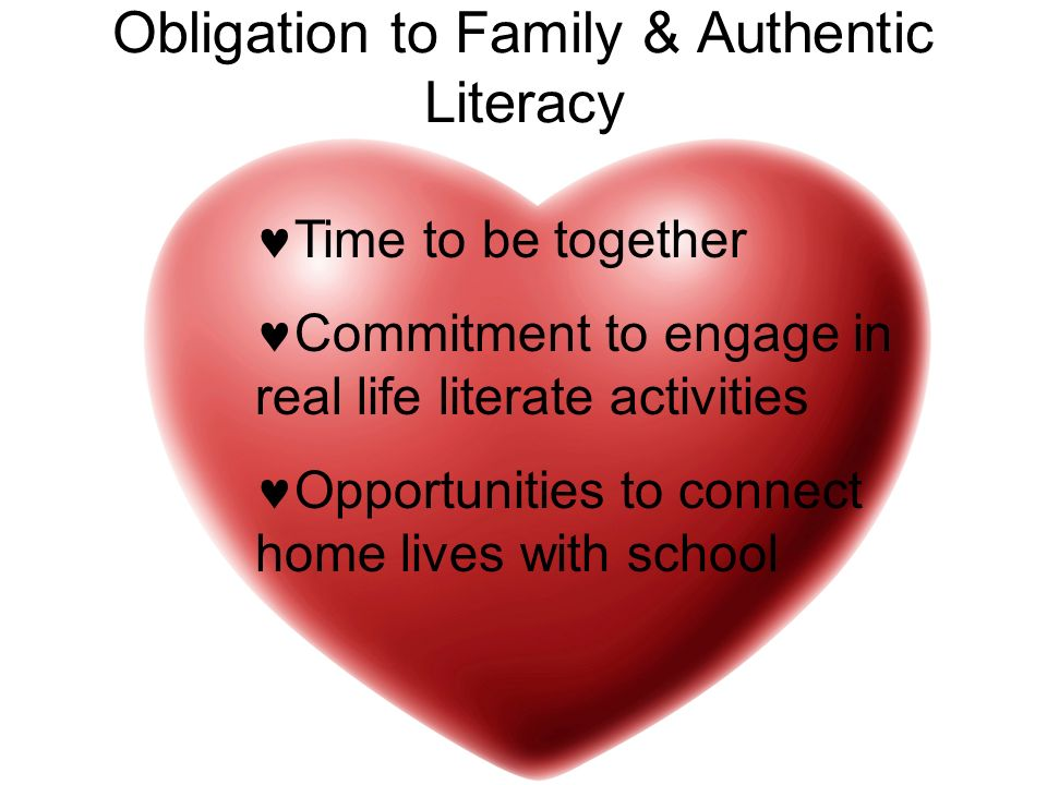 Obligation to Family & Authentic Literacy Time to be together Commitment to engage in real life literate activities Opportunities to connect home live
