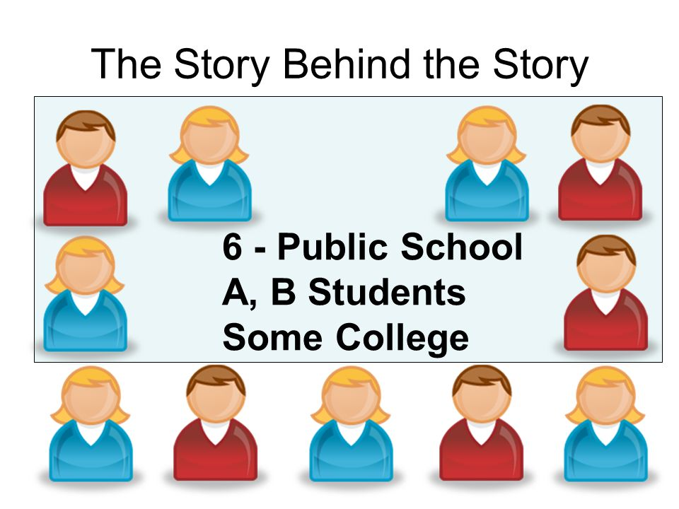 The Story Behind the Story 6 - Public School A, B Students Some College