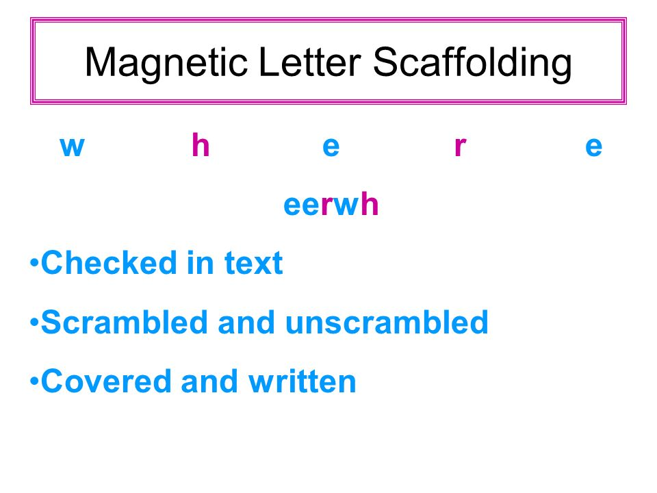 Magnetic Letter Scaffolding where eerwh Checked in text Scrambled and unscrambled Covered and written