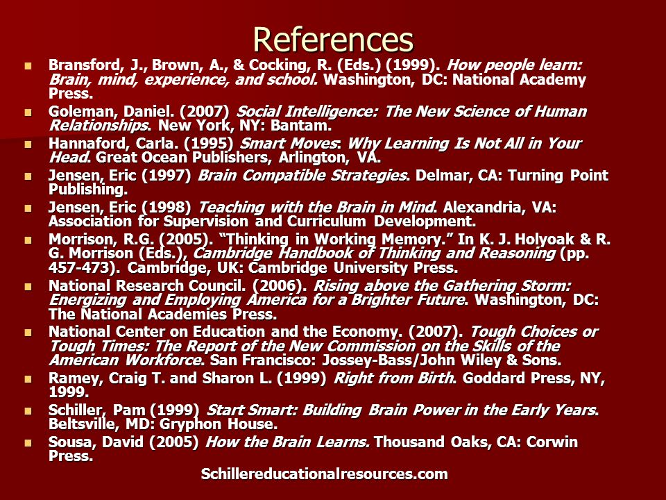 References Bransford, J., Brown, A., & Cocking, R. (Eds.) (1999). How people learn: Brain, mind, experience, and school. Washington, DC: National Acad