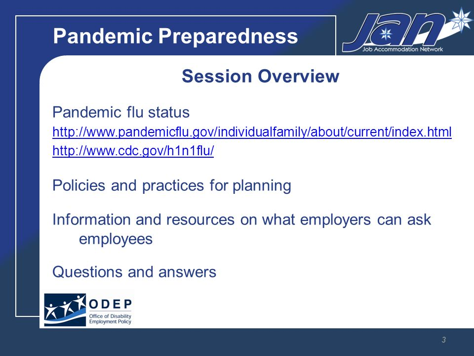 Pandemic Preparedness Session Overview Pandemic flu status     Policies and practices for planning Information and resources on what employers can ask employees Questions and answers 3