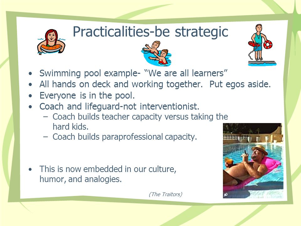Practicalities-be strategic Swimming pool example- We are all learners All hands on deck and working together.