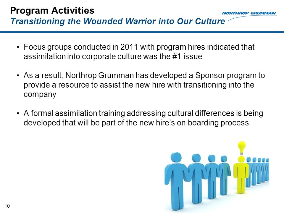 Program Activities Transitioning the Wounded Warrior into Our Culture Focus groups conducted in 2011 with program hires indicated that assimilation into corporate culture was the #1 issue As a result, Northrop Grumman has developed a Sponsor program to provide a resource to assist the new hire with transitioning into the company A formal assimilation training addressing cultural differences is being developed that will be part of the new hires on boarding process 10