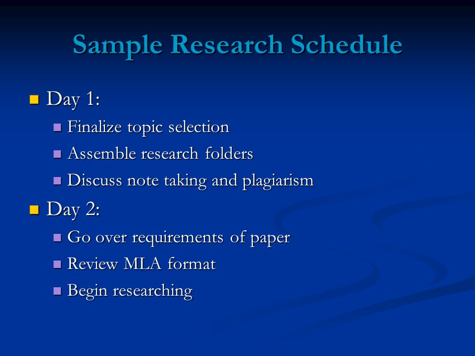 Sample Research Schedule Day 1: Day 1: Finalize topic selection Finalize topic selection Assemble research folders Assemble research folders Discuss note taking and plagiarism Discuss note taking and plagiarism Day 2: Day 2: Go over requirements of paper Go over requirements of paper Review MLA format Review MLA format Begin researching Begin researching