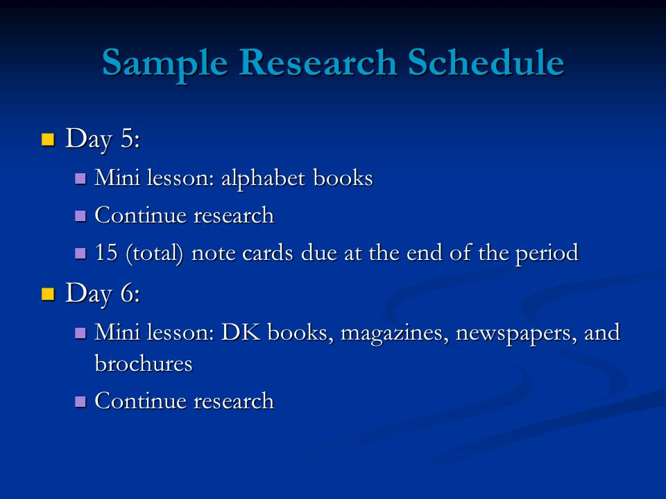 Sample Research Schedule Day 5: Day 5: Mini lesson: alphabet books Mini lesson: alphabet books Continue research Continue research 15 (total) note car