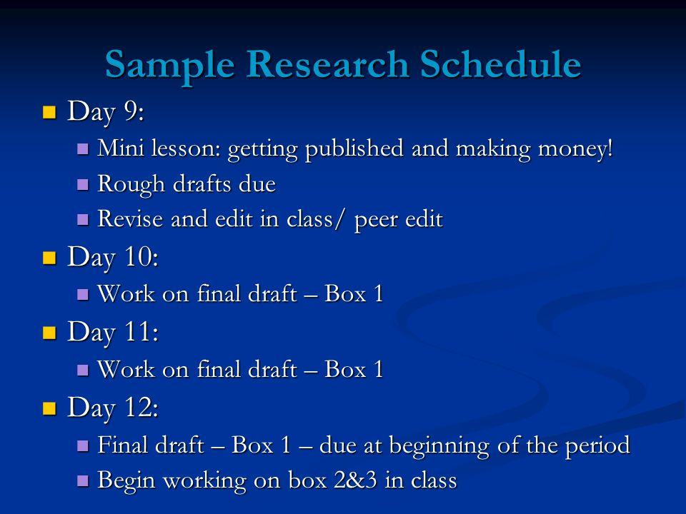 Sample Research Schedule Day 9: Day 9: Mini lesson: getting published and making money! Mini lesson: getting published and making money! Rough drafts