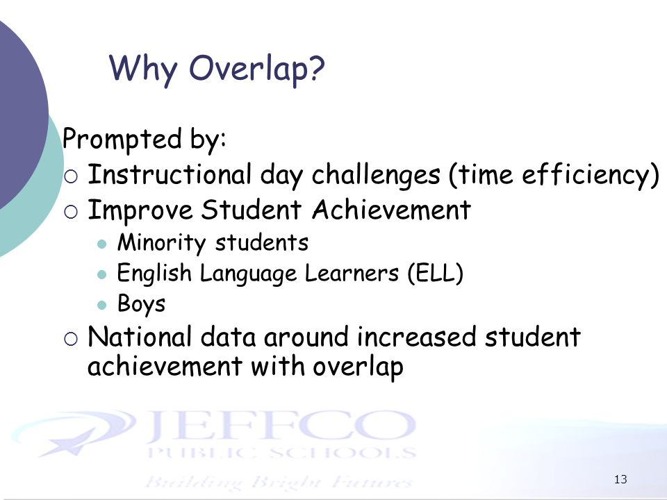 13 Why Overlap? Prompted by: Instructional day challenges (time efficiency) Improve Student Achievement Minority students English Language Learners (E