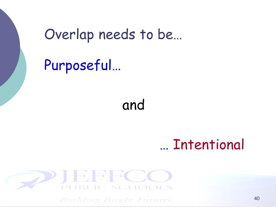 40 Overlap needs to be… Purposeful… and … Intentional