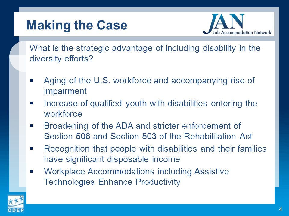 What is the strategic advantage of including disability in the diversity efforts? Aging of the U.S. workforce and accompanying rise of impairment Incr