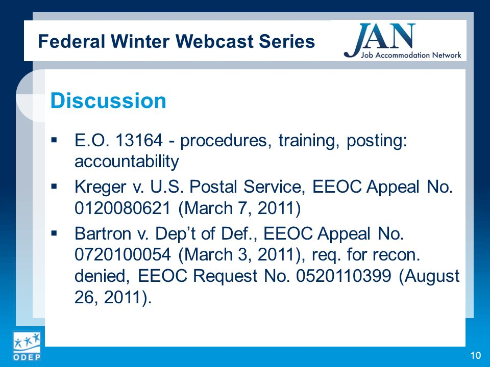 Federal Winter Webcast Series Discussion E.O.