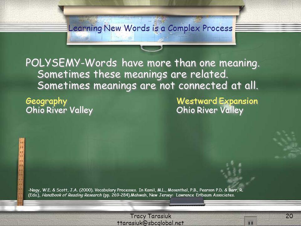 Tracy Tarasiuk ttarasiuk@sbcglobal.net 20 POLYSEMY-Words have more than one meaning.